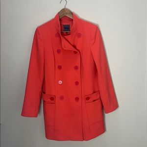 FORENZA Red Orange Button Peacoat with Pockets